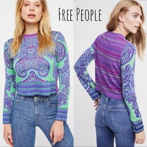 Free People | New Age Crop Purple Green Sweater XS